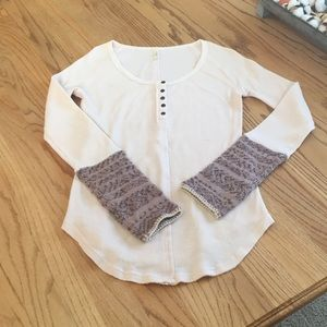 Free People thermal with sweater style cuffing